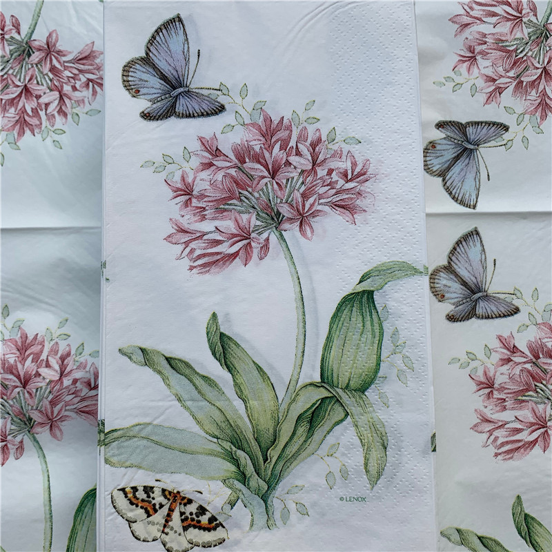 15 Decoupage Wedding Vintage Napkins Paper Elegant Tissue Red Flower Butterfly Craft  Birthday Party Serviettes Decor 33*40cm