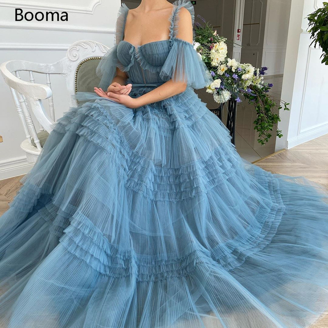 Booma Blue Long Prom Dresses Sweetheart Crumpled Tulle Ruffles Evening Dresses Off Shoulder Tiered A-Line Party Dresses Bow Belt 1