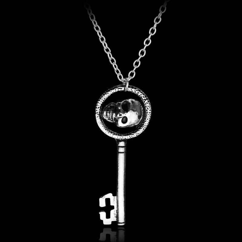 2019 New Fashion osobowość Halloween Metal koralina klucz szkielet rekwizyty Neil Gaiman retro czarny skrzynia skarbów zawieszka w kształcie klucza