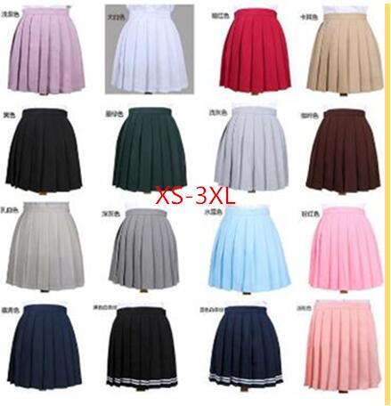 XS-3XL 2020 плиссированная юбка с высокой талией, школьная форма для косплея аниме, плиссированная юбка для девочек