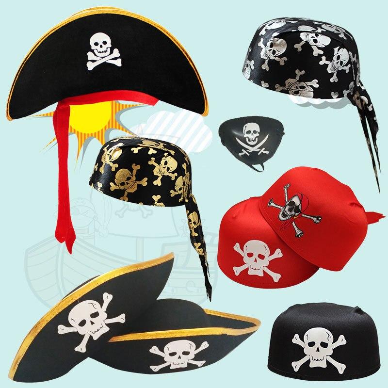 Captain Party Cos Toy For Halloween Dress Magic Pirate  Captain Hat Skull  Design Cap Costume