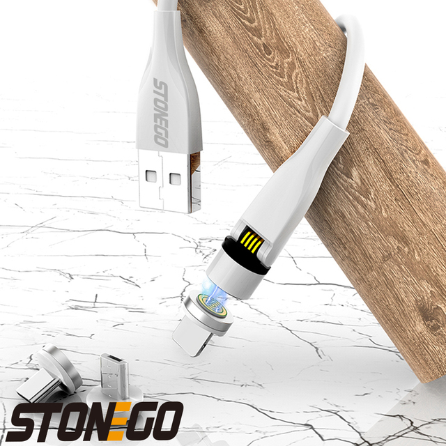 STONEGO 540° Rotating Charging Cable, 3A Magnetic USB Cables Fast Charging Data Sync Type-C / Micro USB Cable 4