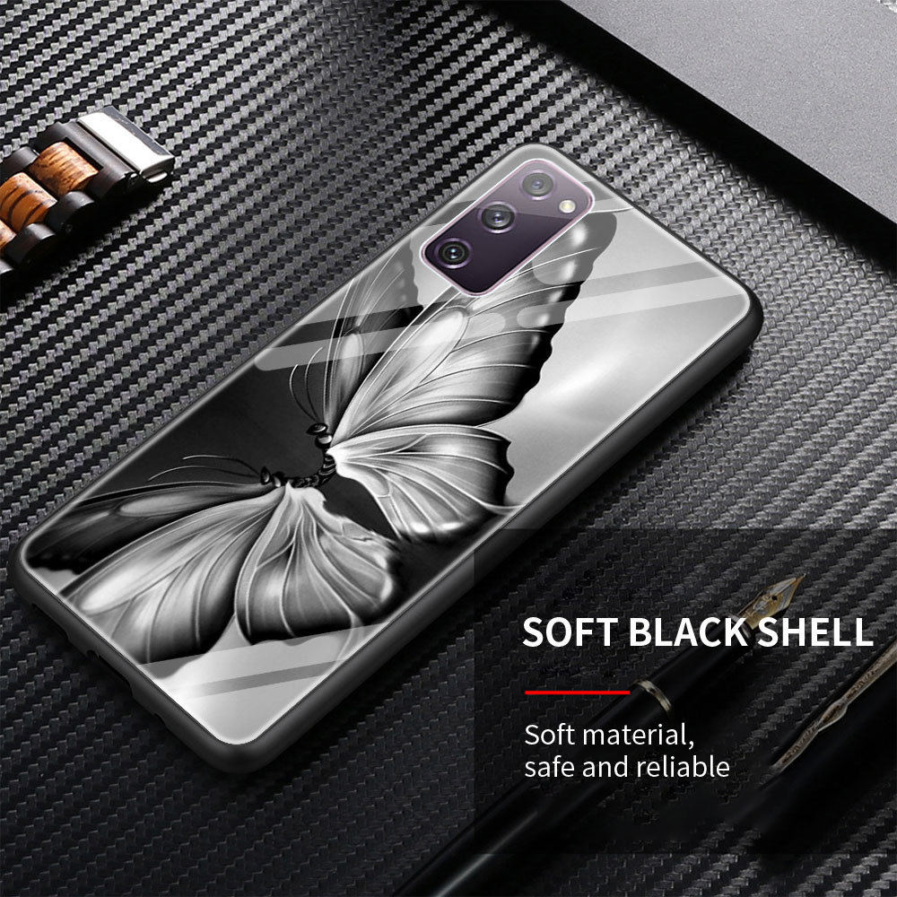 Cute Luxurious Butterfly Glass Phone Case For Samsung Galaxy S21 S20 FE S10 Note 10 20 Ultra 5G 9 S9 Plus S10e Cover Coque
