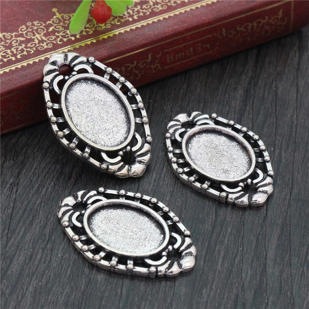 10pcs 13x18mm Inner Size Antique Silver Plated Contact Style Cameo Cabochon Base Setting Charms Pendant Necklace Findings