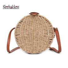 Womens straw bag fashion hand-woven beach shoulder rattan diagonal small round autumn new Khaki main lady