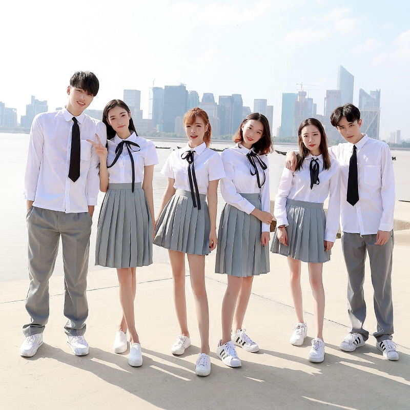 New Arrival Sailor Suit School Uniform Sets JK School Uniforms For Girls White Shirt And Dark Gray Skirt Suits Student Cosplay
