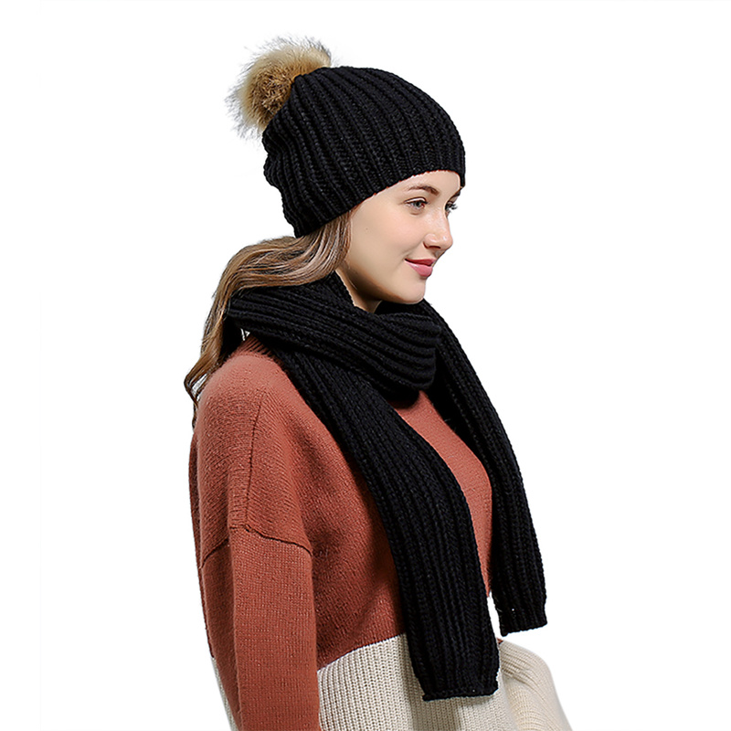 High Quality Scarf And Hat Set 2019 Women 200cm Knitted Warm Girls Thicken Knitting Collars Skull Caps Beanie Ball Hats T6