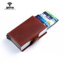 BISI GORO Wallet Genuine Leather Credit Card Holder RFID Aluminum Unisex Crazy Horse 2 Metal