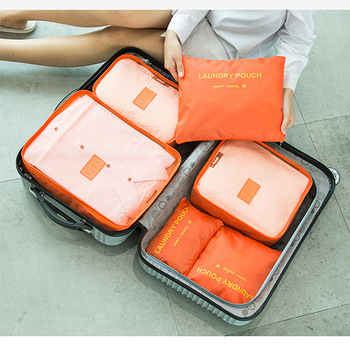 2020 Hot Selling 6Pcs Travel Clothes Storage Waterproof Bags Portable Luggage Organizer Pouch Packing Cube 5 Colors Local Stock