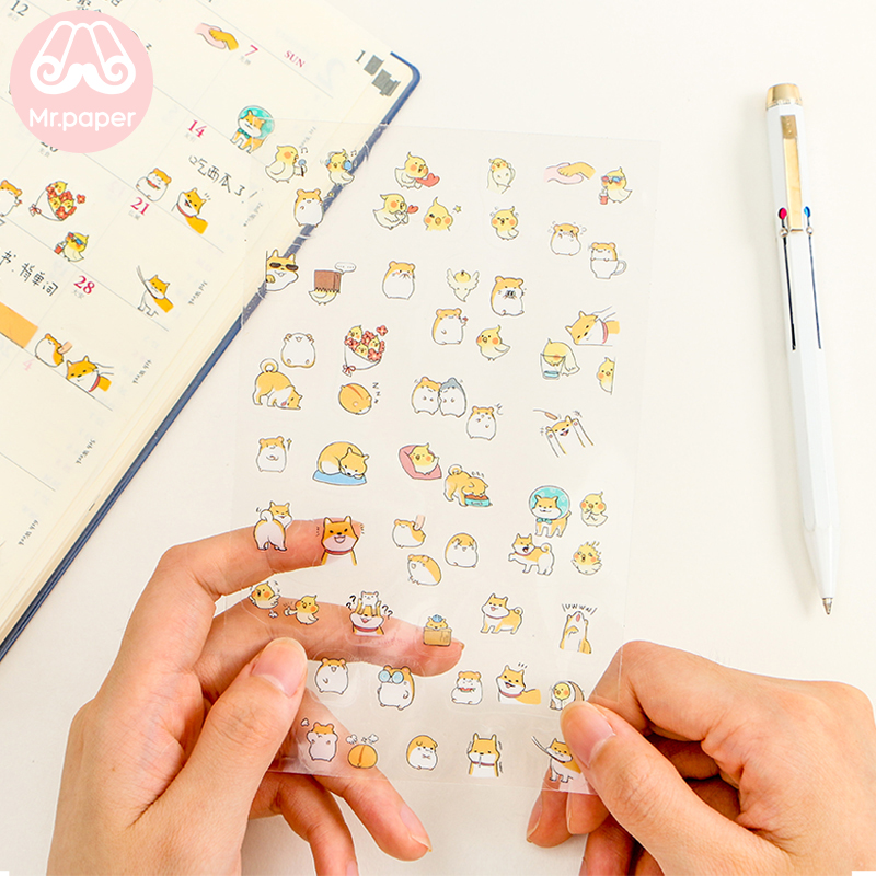 Mr.paper Transparent PVC Sticker Kawaii Cartoon Animal Shiba Inu Panda Rabbit Duck Penguin Scrapbooking Label Stationery Sticker