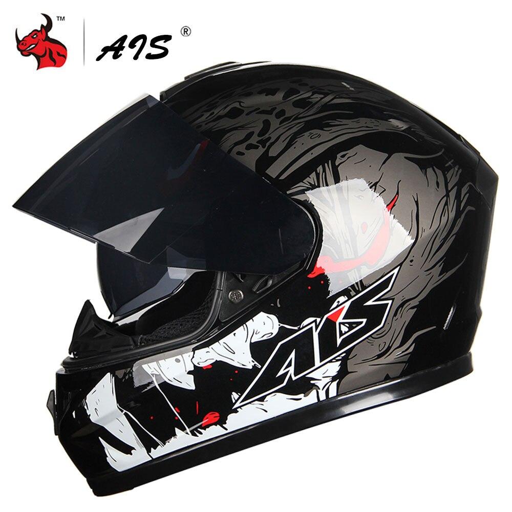 AIS Dual Lens Motorcycle Helmet Full Face Casco Moto Double Visor Racing Motocross Helmet Motorbike Capacete Moto Helmets