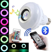 E27 Bluetooth Mini głośnik audio kolor RGB światło ciepłe biała żarówka muzyka lampa. w Oświetlenie sceniczne od Lampy i oświetlenie na