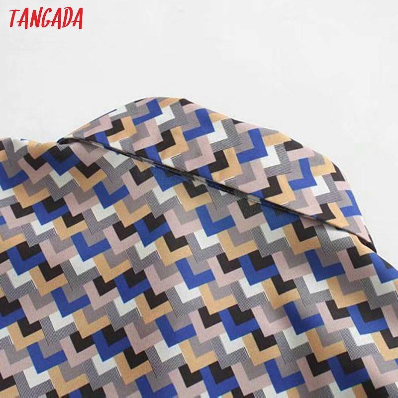 Tangada, модное женское платье-рубашка с волнистым принтом, с поясом, с длинным рукавом, для офиса, для девушек, для работы, миди платье, Vestidos 5Z102