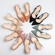 2020 printemps chaussures femme Slingbacks mince talons hauts Faux daim cuir bout pointu en caoutchouc solide bureau dame femme pompes de mariage