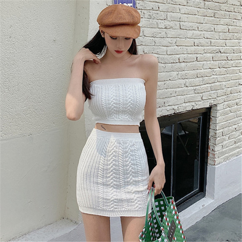 Real Shot 2020 New Fashion Temperament Retro Tube Top Wild Short Top + Hip Skirt Casual Sexy Simple Summer 2 Piece Set