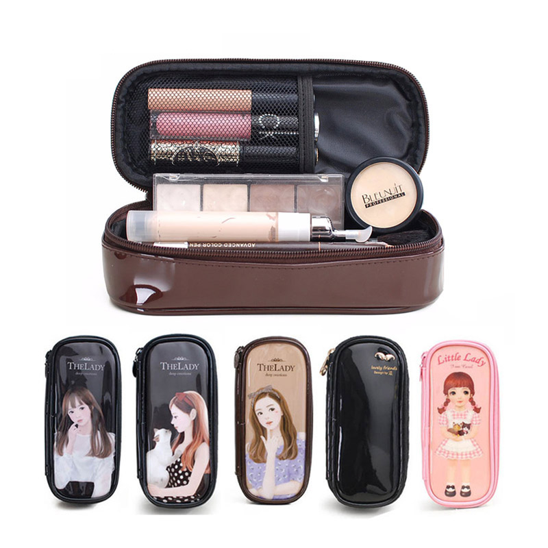 Makeup Bag Cartoon Pencil Case Beautician Waterproof PU Makeup Bag Pencil Case Travel Organizer Case Cosmetics Toiletry Bag