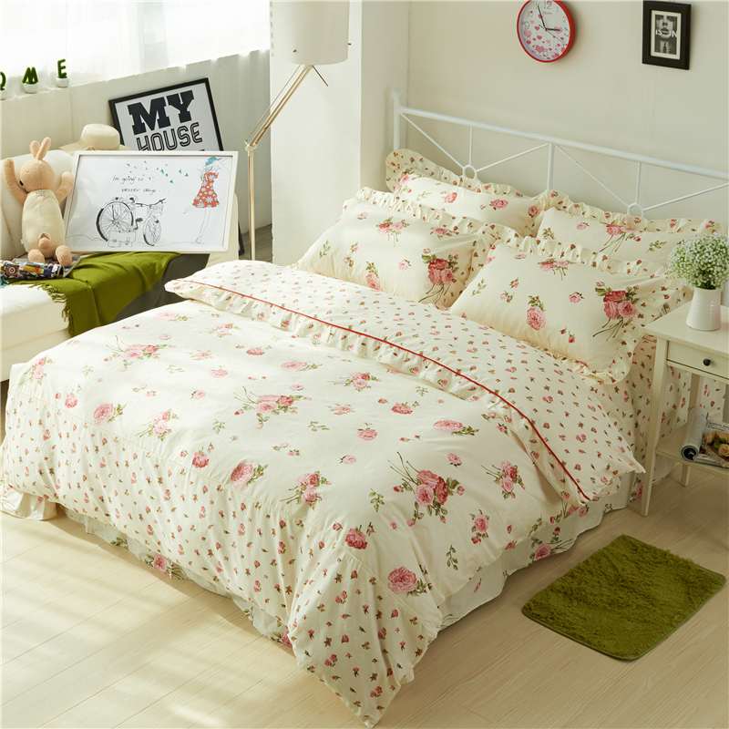 chic vintage floral duvet cover with ruffles bed sheet set elegant princess girls 100 cotton soft twin queen king bedding sets