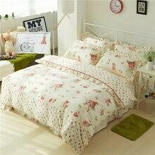 شيك Vintage غطاء لحاف الأزهار مع الكشكشة غطاء سرير مجموعة أنيقة الأميرة الفتيات 100% القطن لينة التوأم الملكة الملك الفراش مجموعات