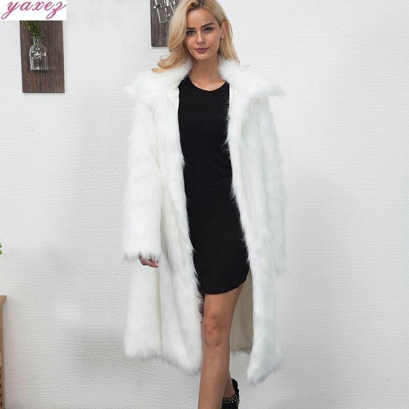 Winter Womens 2019 Plus Size Faux Fur Coat Long Slim Thicken Warm Hairy Jacket Trendy Warm Outerwear Fur Coat Trenchcoat