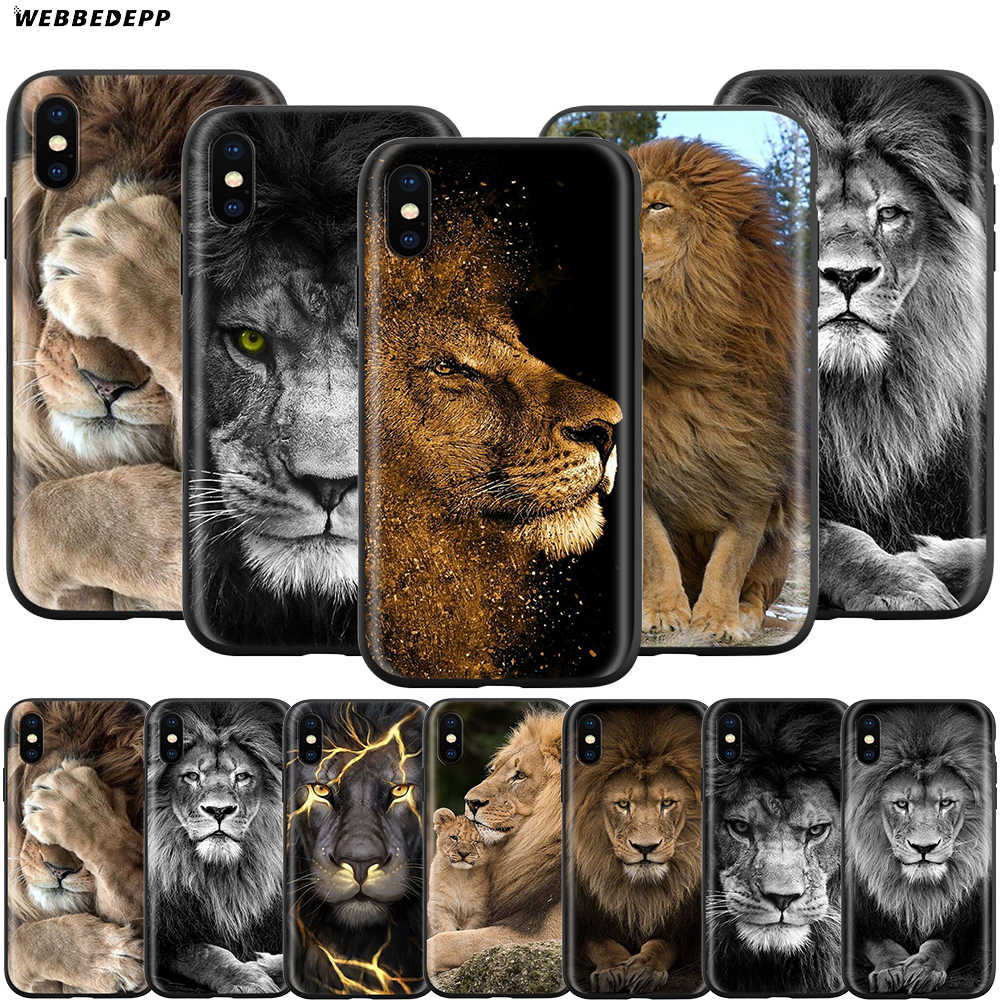Webbedepp Lion Alpha męski pokrowiec na Apple iPhone 11 Pro XS Max XR X 8 7 6 6S Plus 5 5S SE
