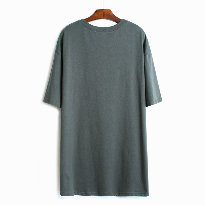 [EAM] Women Gray Letter Printed Sequins Split Big Size Long T-shirt New Round Neck Half Sleeve  Fashion Spring Summer 2020 1W348 2