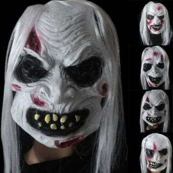 Cool Halloween Mask Long Hair Ghost Scary Mask Halloween Zombie Mask Props Grudge Ghost Hedging Zombie Mask Realistic Masquerade image