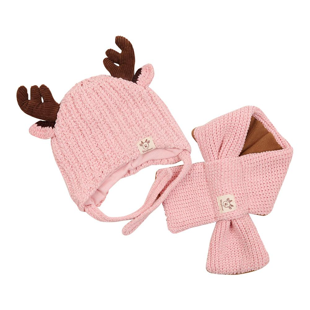 2pcs Baby Knitted Hat Scarf Winter Warm Cute Skillful Manufacture Superior Quality Skin-friendly Antlers Neck Warmer Cap Suit