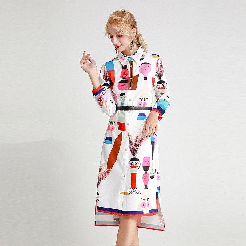 Herbst Hemd Kleid Neue Mode 2019 frauen drehen unten Kragen Langarm Cartoon Bilder Druck Unregelmäßigen Saum Knie länge Kleid