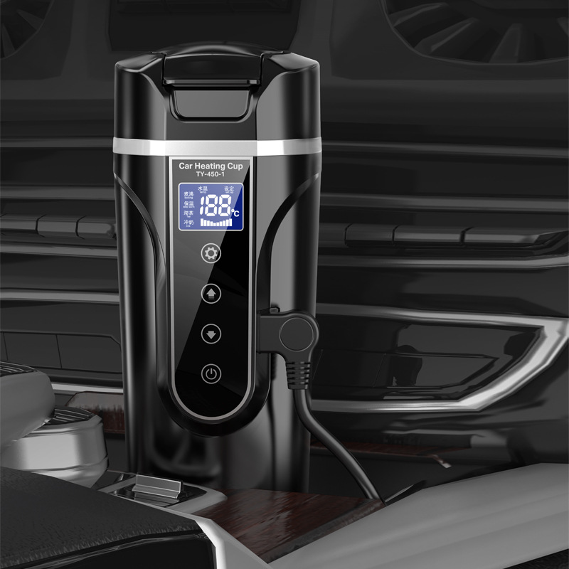 450ml Stainless Steel Car Heating Cup 12V/24V Electric Water Cup LCD Display Temperature Kettle Coffee Tea Milk Heated
