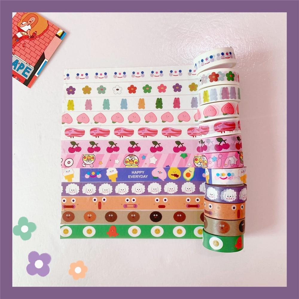 Mohamm 1Pcs Kawaii Heart Bear Fruit Tape Decorative Creative Cartoon Stickers Scrapbooking Stationery School Supplies