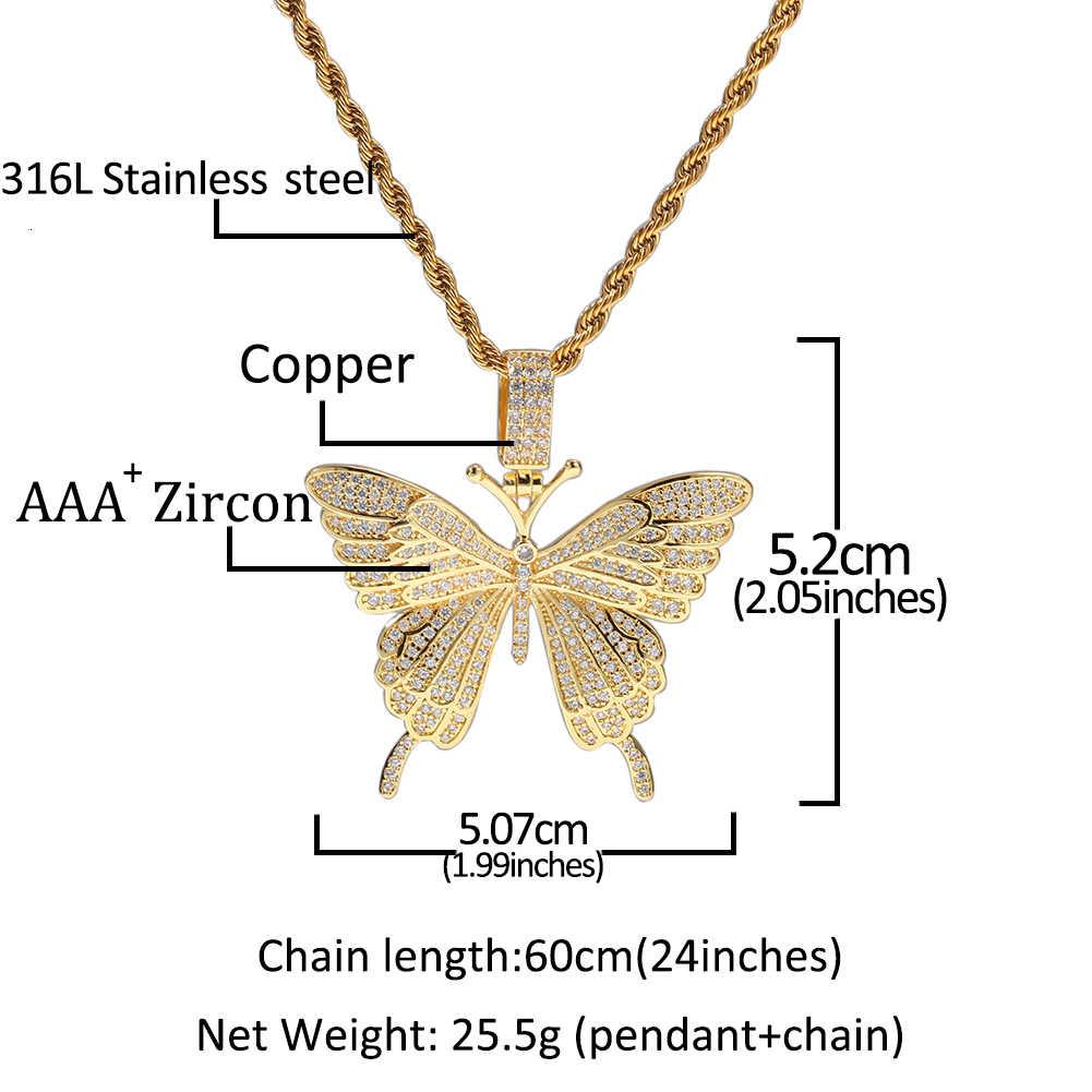 UWIN moda urok wisiorek z motylem naszyjnik betonowa Iced Out aaa sześcienne cyrkonie łańcuch mężczyźni Hiphop biżuteria na prezent