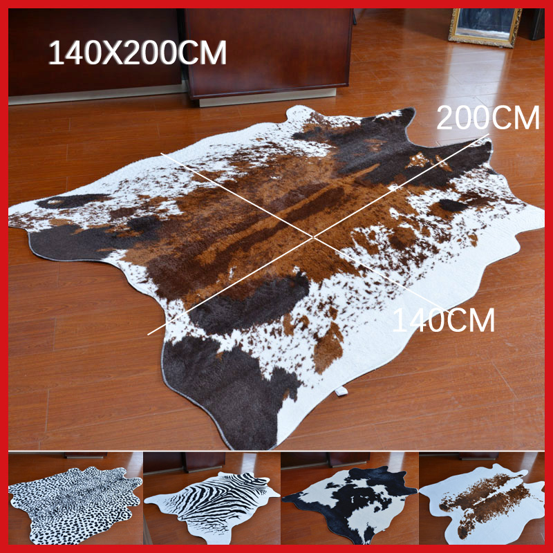 Sholisa Cowhide Cow Hide Rug Carpets For Living Room Bedroom Rug Polyester Morden Cow Skin Rug For Home Decorative