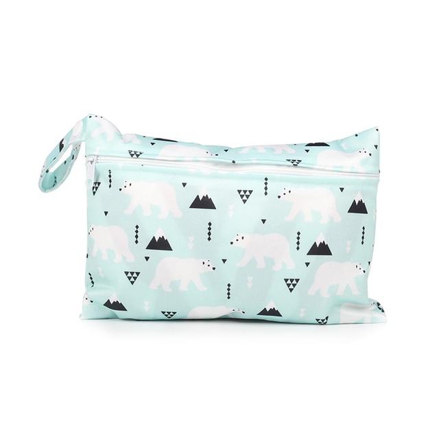 Mini Wet Bag Riutilizzabile Per di Cura Mestruale Pastiglie Waterptoof PUL Maniglia A Scatto Wetbag Maternità Pannolino Borsa Passeggino Borse 15*22.5 centimetri 2