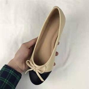 Балетки на плоской подошве с бантом; Женские балетки из натуральной кожи; Zapatos De Mujer Zapatos de bailarina; Рождественский подарок