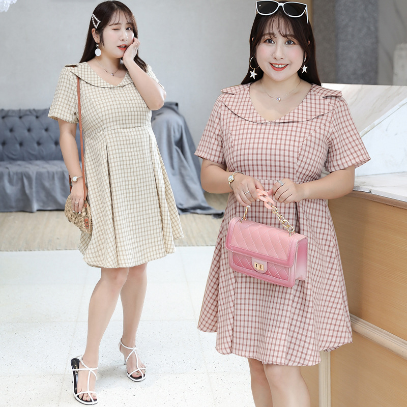 [Xuan Chen] Summer New Products Fat Mm Large Size Dress Plus-sized Fresh Plaid Dress A Generation Of Fat 6901