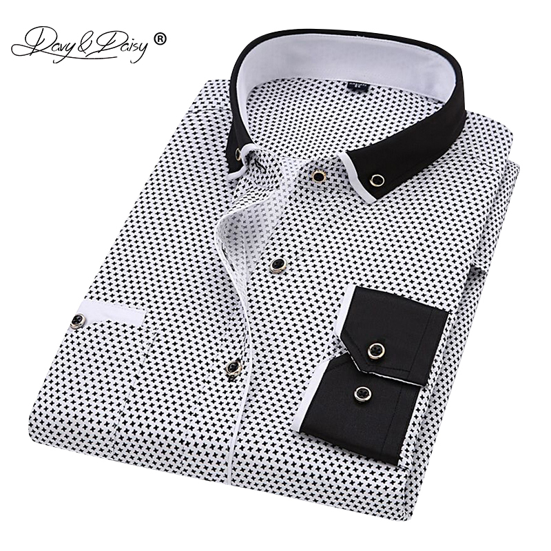 DAVYDAISY 2019 New Arrival Men Shirt Long Sleeve Print Shirts Fashion Causal Business Dress Slim Fit Man Brand Clothes DS340