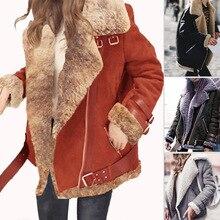 Womens Plus Velvet Coat Autumn Winter New Female Motorcycle Clothing Deer Imitation Lamb Hair Thick Jacket