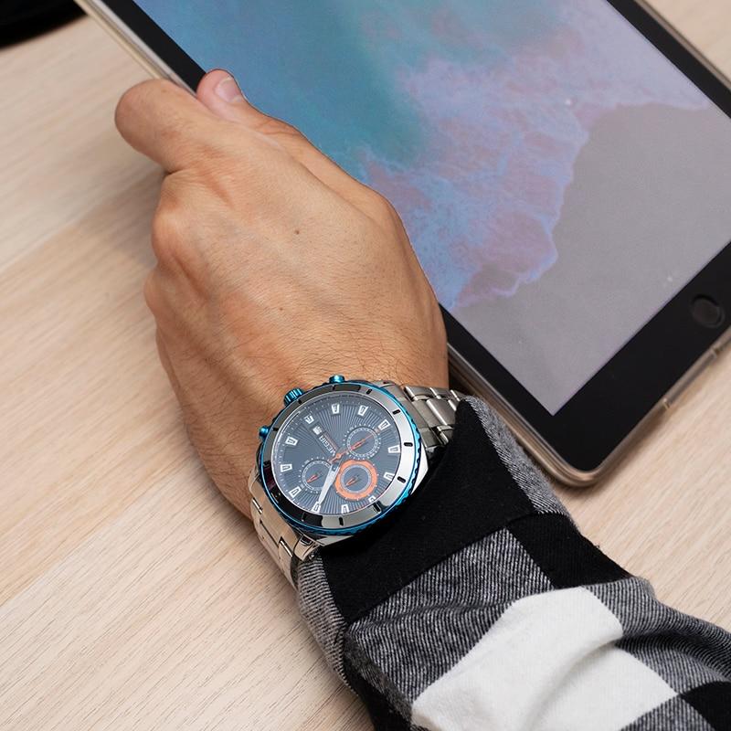 Image 5 - MEGIR Chronograph Quartz Men Watch Luxury Brand Stainless Steel Business Wrist Watches Men Clock Hour Time Relogio MasculinoQuartz Watches   -