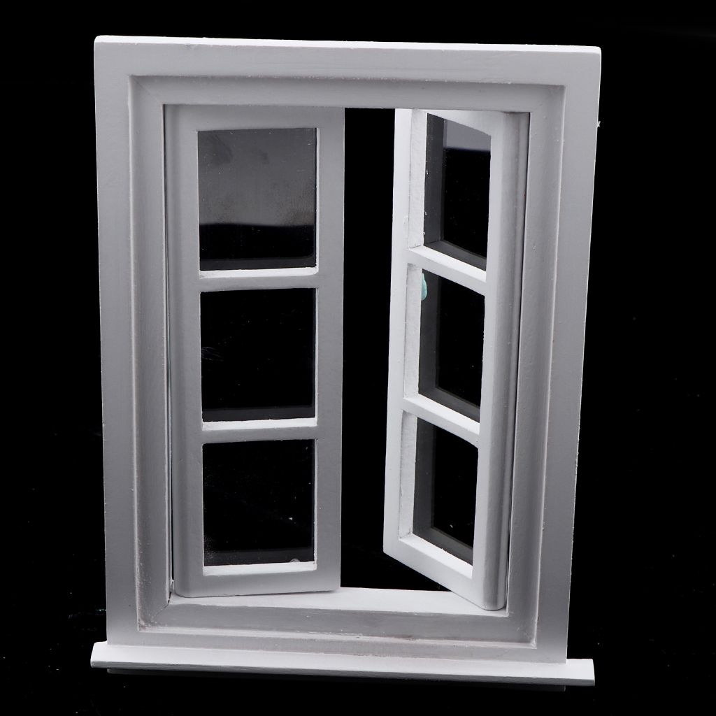 Miniature White Wooden Window, Furniture For 1/12 Dolls House DIY Decoration Accessories