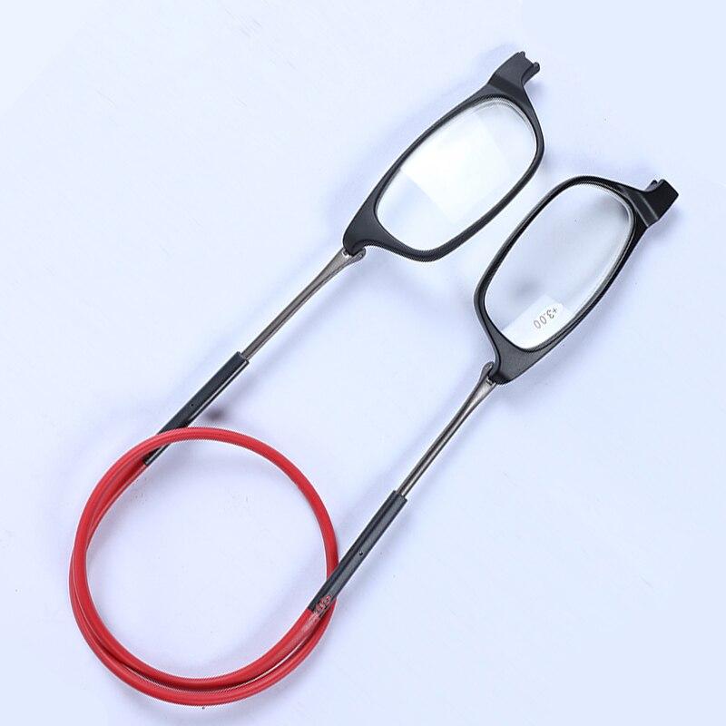 Hanging Neck Buckle Reading Glasses Folding Presbyopic Men Women Soft Silicone Magnetic Vintage Eyeglasses