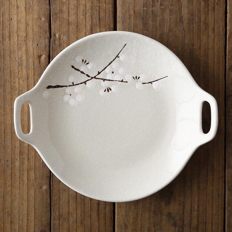 Посуда в японском стиле, керамический набор, домашняя тарелка с двойной ручкой, керамическое блюдце, креативное блюдо для закусок, салат, Обеденный Поднос - Цвет: Белый