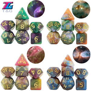 Glalaxy 7-Die Cosmic Mixed Polyhedral DND Dice for Table Board Role Playing Games D4 D6 D8 D10 D% D12 D20