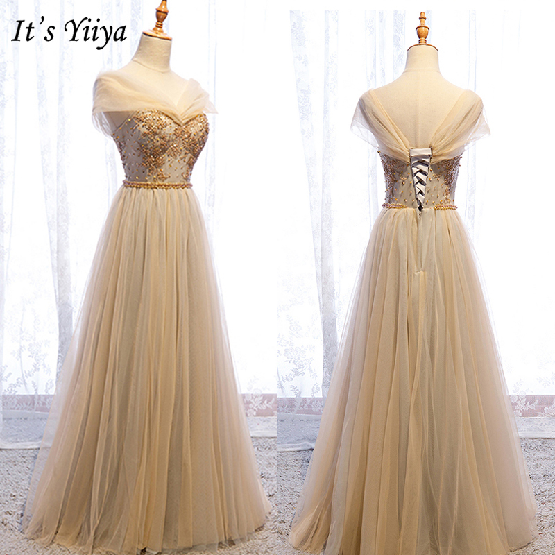 It's Yiiya Evening Dress 2019 Summer Plus Size Sleeveless Off Shoulder A-Line Dresses Elegant Appliques Lace Up Formal Gown E990