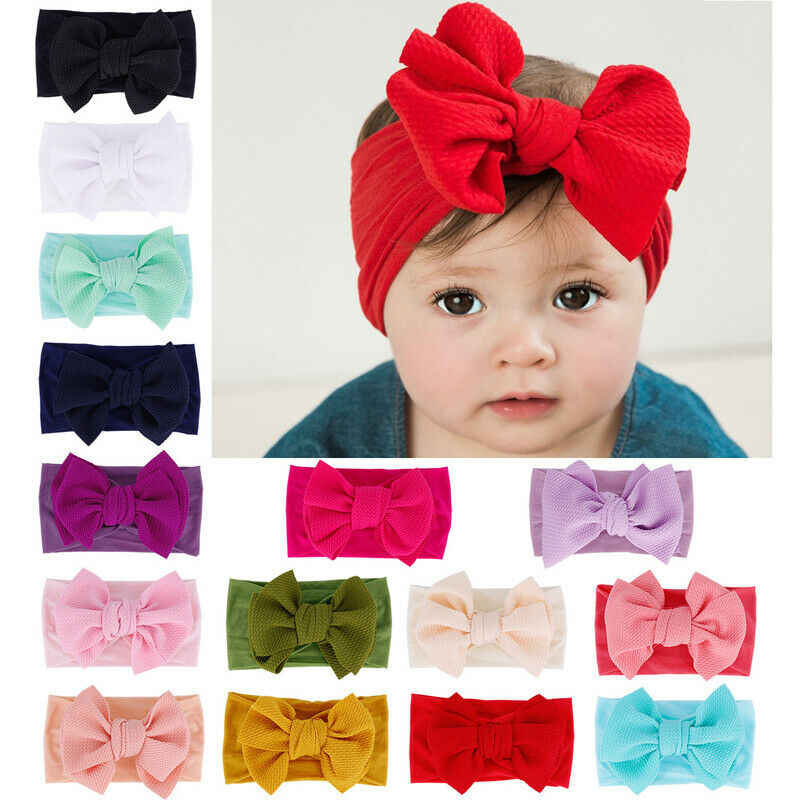 2019 Baby Accessories Infant Baby Girl Cute Bow Headband Newborn Solid Headwear Headdress Nylon Elastic Hair Band Gifts Props
