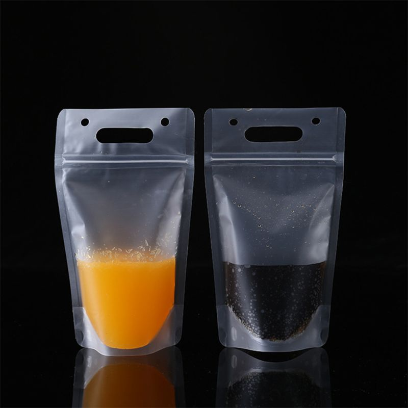 50PCS Disposable 500ml Juice Coffee Liquid Bag Vertical Zipper Seal Drink Bag Clear Drink Pouches Without Straw Party Tableware