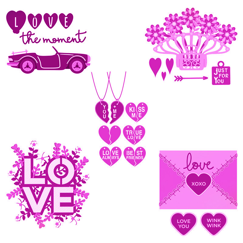 Love The Moment Big Love Envelope Pop Up Flowers Cutting Dies For DIY Scrapbooking Craft Valentine's Day Wedding Cards 2020 New