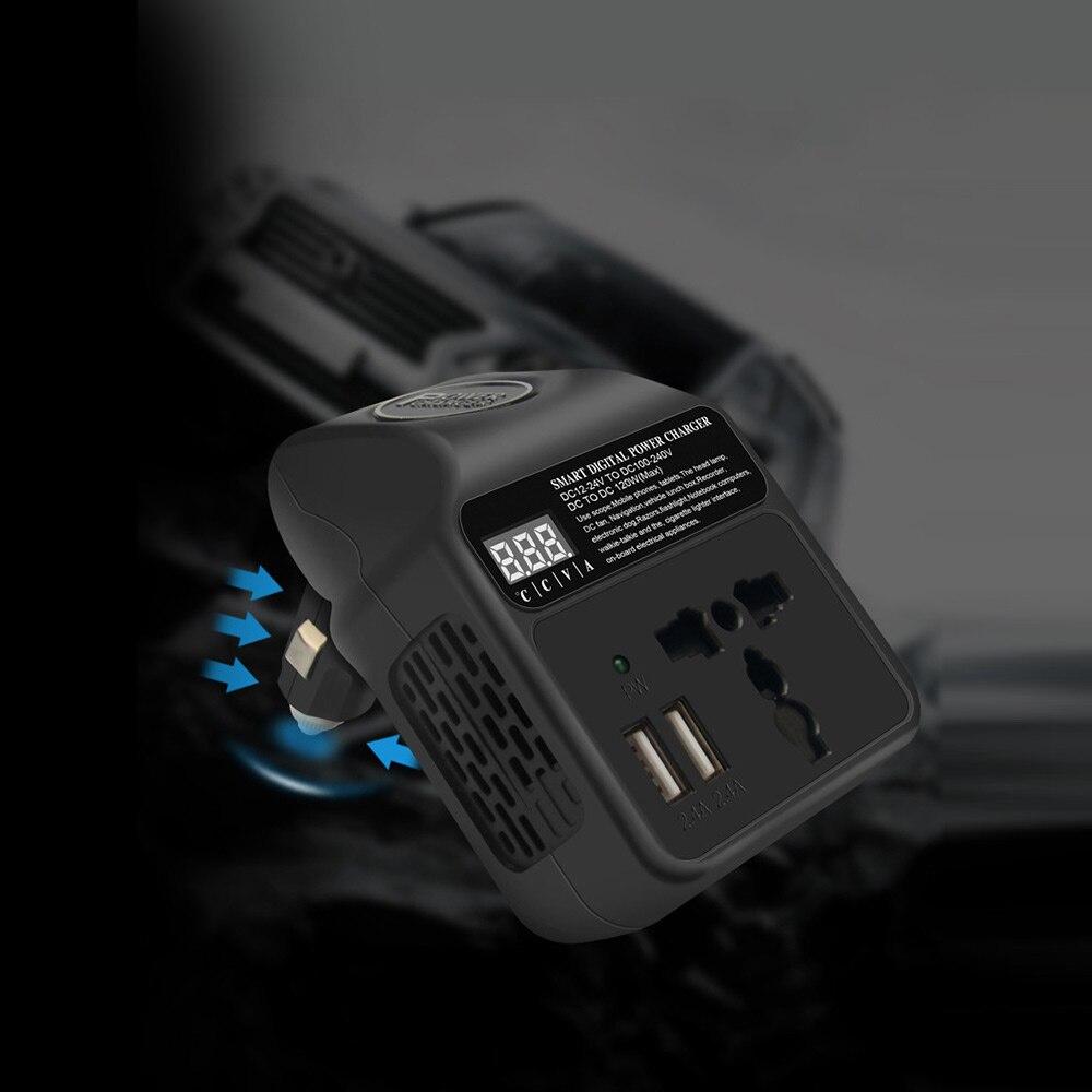SUNYIMA 120W DC12V 24V do 110V 220V 3.1A gniazdo samochodowe inteligentna cyfrowa ładowarka sieciowa konwerter falownika z interfejsem wielofunkcyjnym