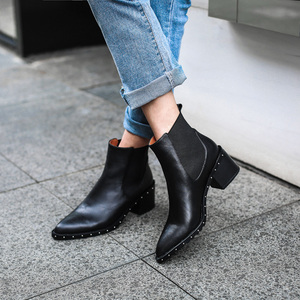 Image 5 - 2020 Latest Rivet Chelsea Boot Women Ankle Boots Winter Booties Genuine Leather Womens High Square Heel Shoes Female Footwear