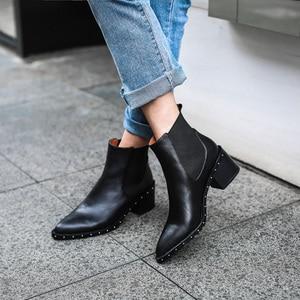 Image 5 - 2020 neueste Niet Chelsea Boot Frauen Stiefeletten Winter Booties Aus Echtem Leder frauen Hohe Quadratische Ferse Schuhe Weibliche Schuhe