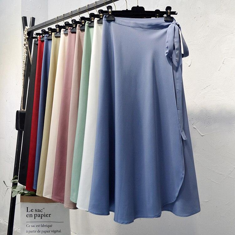 High Waist One Piece Skirts Women 2020 Summer Chiffon Casual Streetwear Lace Up Loose Women Beach Long Skirts